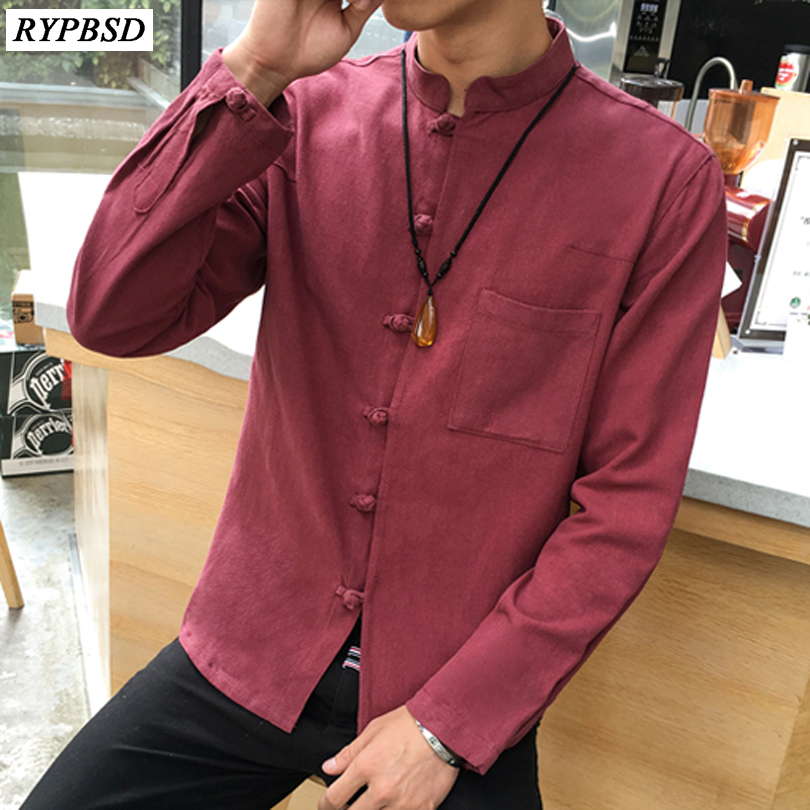 White Slim Fit Shirt Cotton Linen Men Shirt Long Sleeve Kung Fu Shirt Chinese Style Solid Classic Shirts Men 5XL
