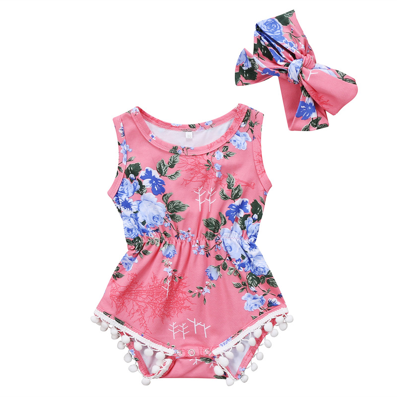 New Fashion Infant Baby Girls Clothes Sleeveless Floral Romper Cotton Jumpsuit Casual Outfits Set