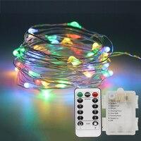 10 M 100 LED Fil De Cuivre de Corde Féerique de Lumières Avec Télécommande 3 AA Batterie Alimenté Extérieure Jardin Cordes Guirlande