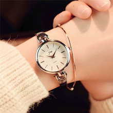 Simple silver women bracelet watches wit