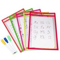 10 pcs 재사용 가능한 투명 pvc 드라이 지우기 포켓 슬리브 사무실 교실 조직에 대 한 3 pcs 펜 교육 용품 무작위 색상