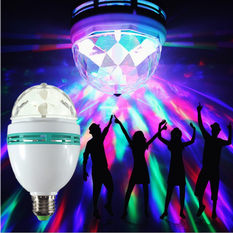 E27 6W LED Bulb RGB Auto Rotating Magic Ball Bulb lamp Stage Light Colorful Night Light For Home DJ Holiday Party Dance Decora