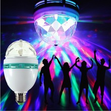Festival E27 3W 85-260V LED Stage Light Christmas Colorful Auto Rotating RGB Bulb Party effect Lamp Disco DJ Magic Ball Lighting