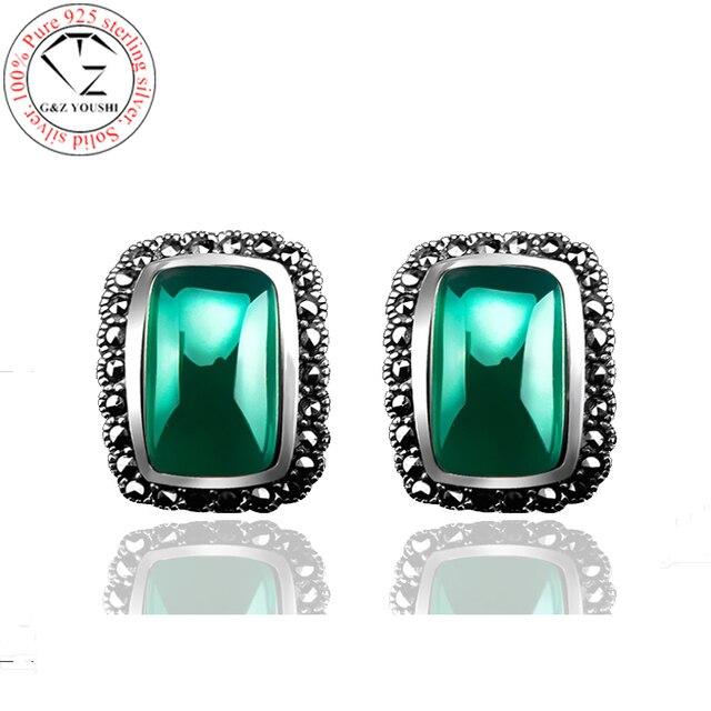 Белый халцедон зеленый агат камень S925 твердого серьги стержня 100% реальный 925 серебряные серьги для женщин Jewlery YE07