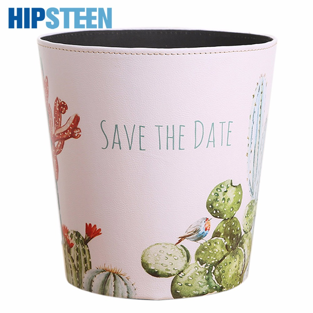 HIPSTEEN 19*19*19CM British Style Flamingo Pattern Trash Bin Household Uncovered Garbage Can Wastebasket
