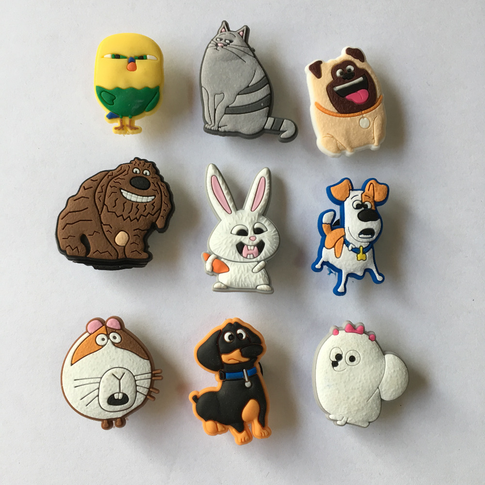 9PCS/lot the Secret Life of Pets PVC Shoe Charms Accessories for Croc Decorations for Bracelets with holes Christmas Party Gift Ямча