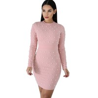 11ab989740 Zmvkgsoa New Chic Bodycon Dress Sexy Design Pearl Embellished Long Sleeves  Celebrity Mini Dresses Women Ladies