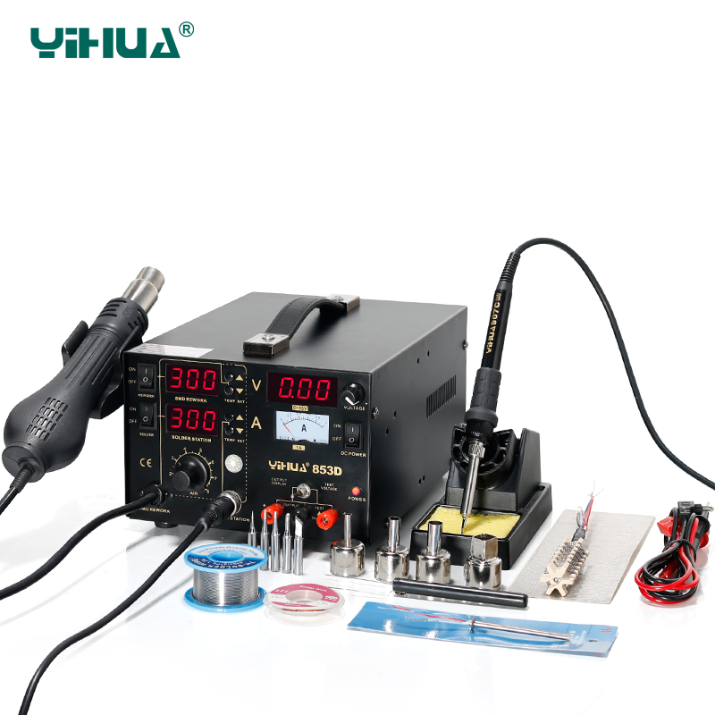 YIHUA 853D Soldering Iron Station With Hot Air Gun Rework Station DC Power Supply 3 In 1 Soldering Tool yihua 853d 3a 3 in 1 hot air solder rework station heat gun soldering iron 15v 1 a regulated power supply