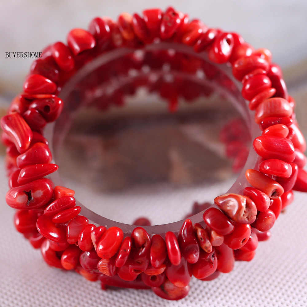 "Free Shipping New without tags Fashion Jewelry Stretch Weave Natural Red Sea Coral Bracelet 7"" 1Pcs RH047"
