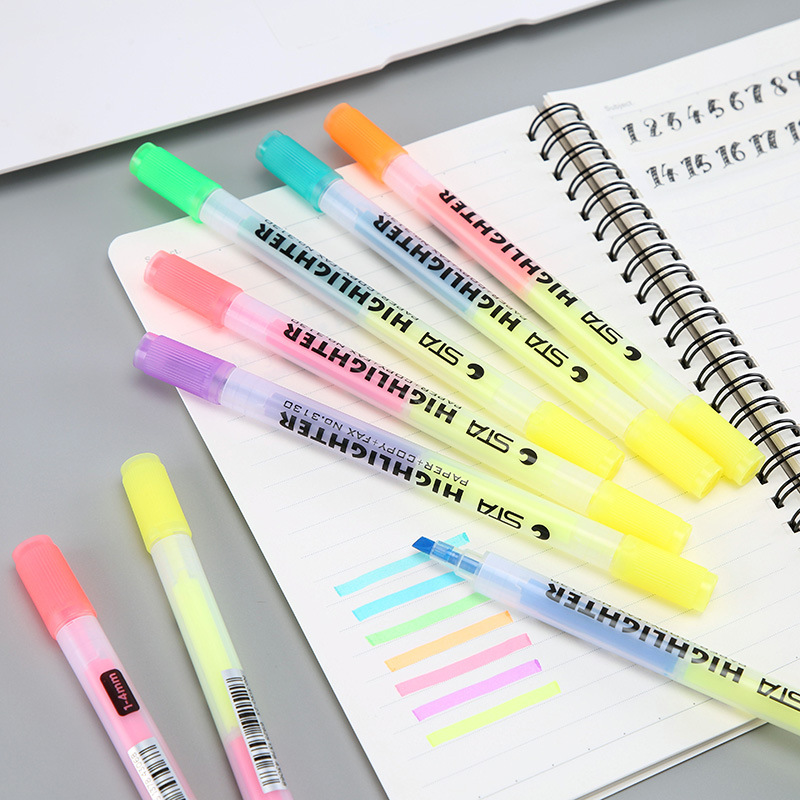 6 Colors Aihao Rainbow Double Write Cute Korean Japanese Permanent Highlighter Markers Pen Set For School Supply