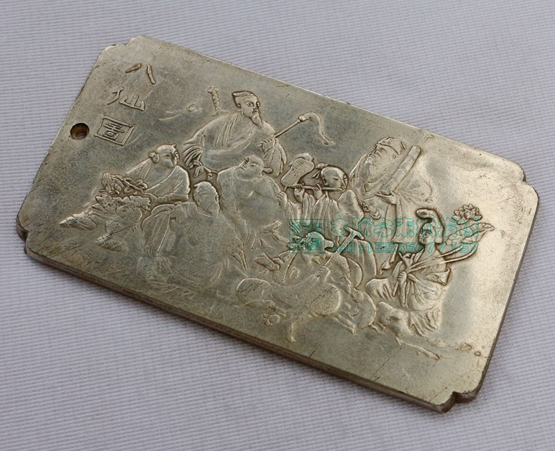 Chinese tibet Silver Bullion thanka The eight immortals cross the sea statue amulet Waist tag, hang metal handicraft