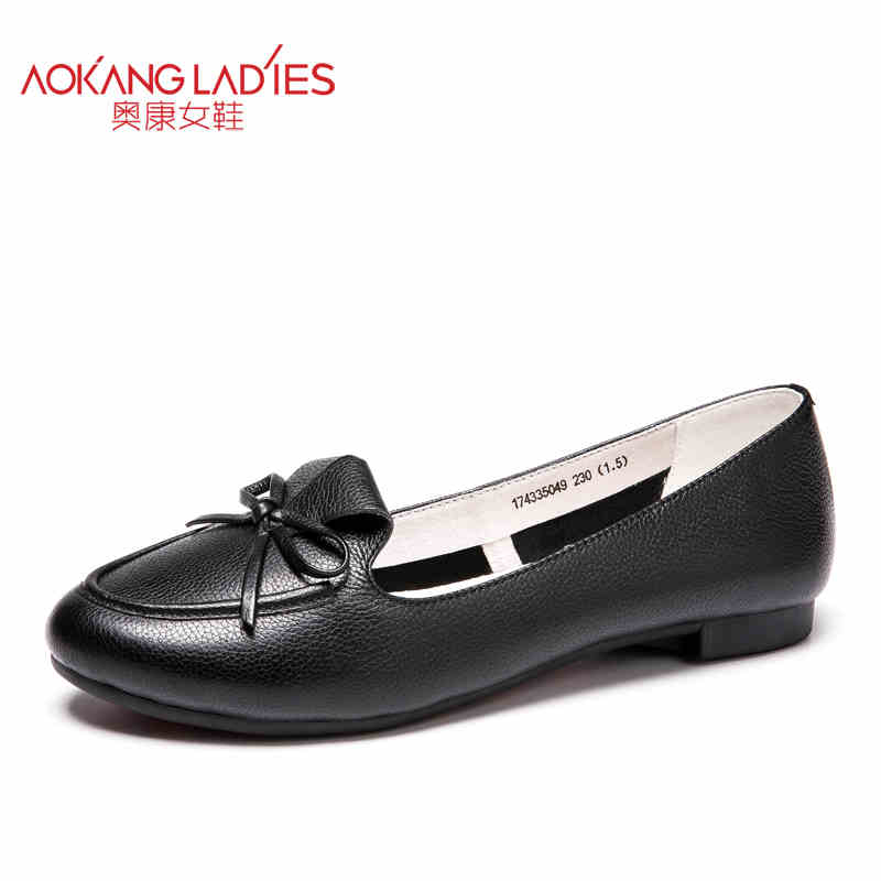 Aokang 2017 New arrival women flat genuine leather shoes red pink white women shoes breathable and soft free shipping