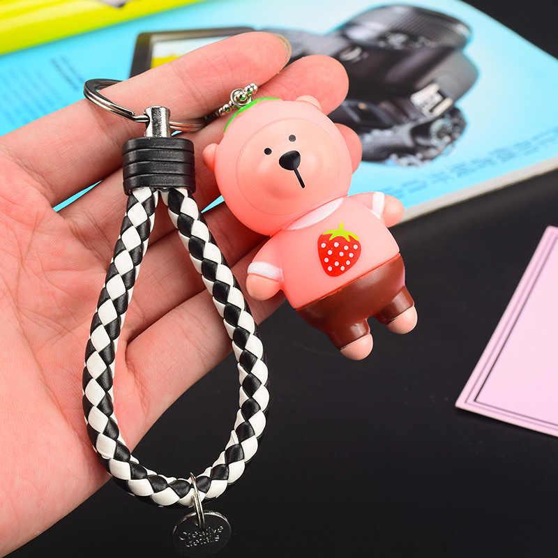 الكرتون الفراولة ميدالية مفاتيح على هيئة دب الإبداعية جلدية حبل سلاسل المفاتيح الإناث حقيبة الأطفال المدرسية شخصية كيرينغ قلادة