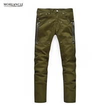 MORUANCLE Fashion Hi Street Men s Jeans Pants With Zippers Slim Fit Denim Trousers Male Army
