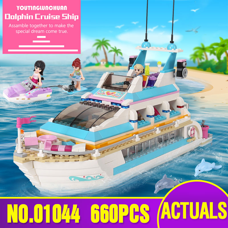 Lepin 01044 Friends Girl Series 661pcs Building Blocks toys Dolphin Cruiser kids Bricks toy girl gifts Compatible Legoing 41015 lis 10172 bela friends girl dolphin cruiser vessel ship building blocks big set compatible with gift bricks kid toy