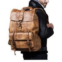 Роскошные из коровьей кожи большой Ёмкость рюкзак дорожная сумка Для Мужчин's Повседневное минималистский сумка для ноутбука из натурально