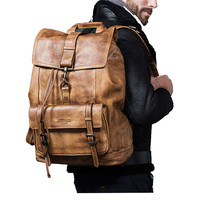 Luxury Cow Leather Large Capacity Backpack Travel Bag Men's Casual Minimalist Computer Bag Full Grain Leather