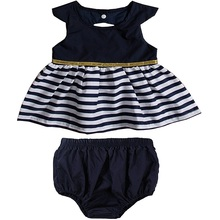 Free Shipping 2Pcs Baby Girls Sleeveless Striped Splice Skirt Short Bottoms Summer Clothing Set