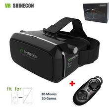 VR Shinecon Virtual Reality 3D Movie Smartphone Game 3D Glasses Helmet 3 D VR Cardboard Smart Phone+ Bluetooth Controller Hot