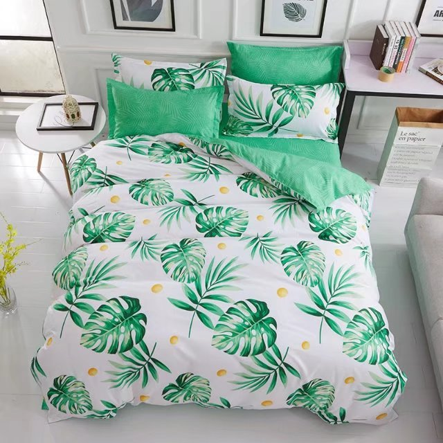 USA Europe Russian Bedding Sets King Size Duvet Cover Set Spring Leaf Bedding Hotel Bedclothes Green