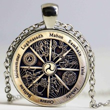 Zodiac Wicca Pendant Zodiac Wicca Charm Necklace Silver Crescent  Retro Necklace Women Jewelry Men Gift HZ1