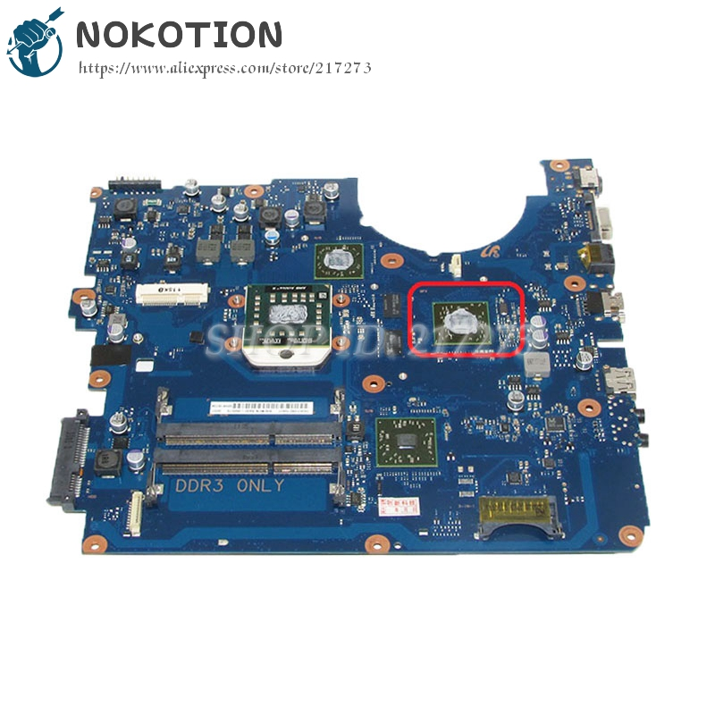 NOKOTION For Samsung NP-R525 R525 Laptop Motherboard Socket s1 Free CPU DDR3 ATI GPU BA92-06827A BA92-06827B BA41-01360A laptop motherboard for samsung nc210 nc110 ba92 07684a intel n455 cpu on board ddr3 mainboard free shipping