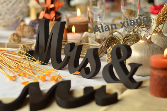 MR... and. MRS..wood letters for garden wedding. Glitter Mr &Mrs. DIY or painted wooden signs ...