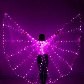 NEW Women Belly Dance led wings 360 Degree LED Shining Wings Girls Dance Wings butterfly Split Wings LED Dance With Stick крылья