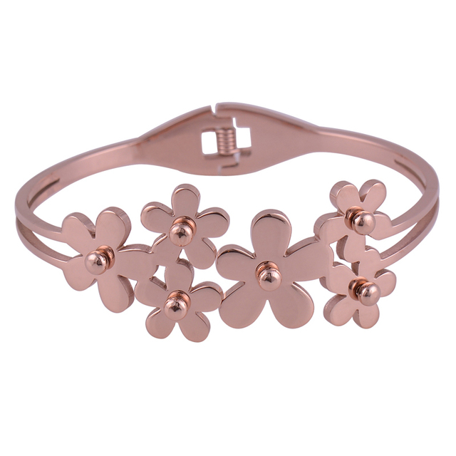 New fashion indian rose gold Color flower charm bracelets jewelry