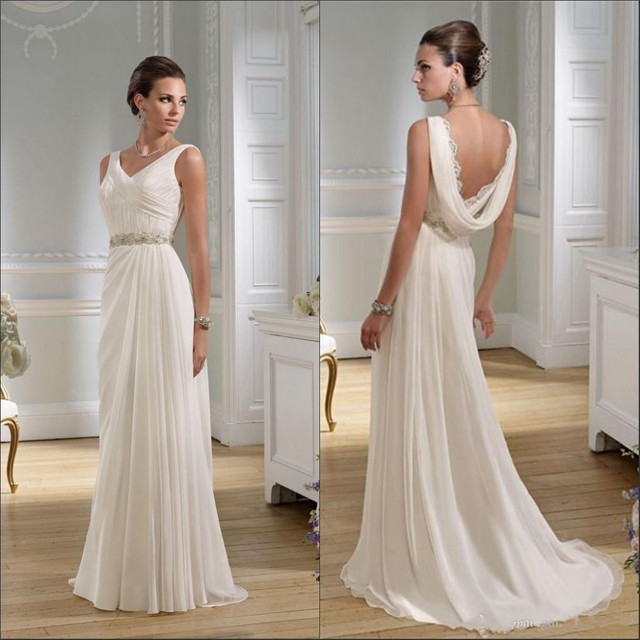 Elegant Wedding Dresses 2016 Beach V Neck A Line Sweep Train Cowl Back Crystal Beading Pleats