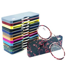 Final Crazy Promotion discount MINI clip nose bridge reading glasses 1.0 to 3.5 Portable Wallet presbyopic glasses with Case(China)