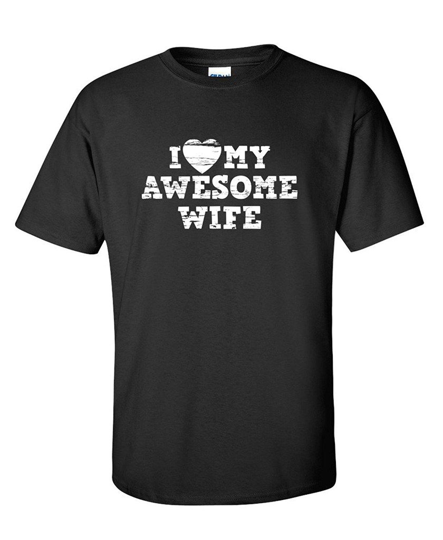 Я люблю свою жену удивительной подарок для мужа Папа Отец сарказм забавная футболка Новая мода Графический письмо футболки homme