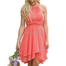 YNQNFS BD49 Elegant Chiffon Halter Knee Length Short Bridesm