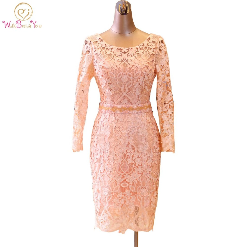 Walk Beside You Pink Evening Dresses Long Sleeves Lace Beaded Belt Pearl Straight Knee Length Mother Of Bride Gown Prom 2018