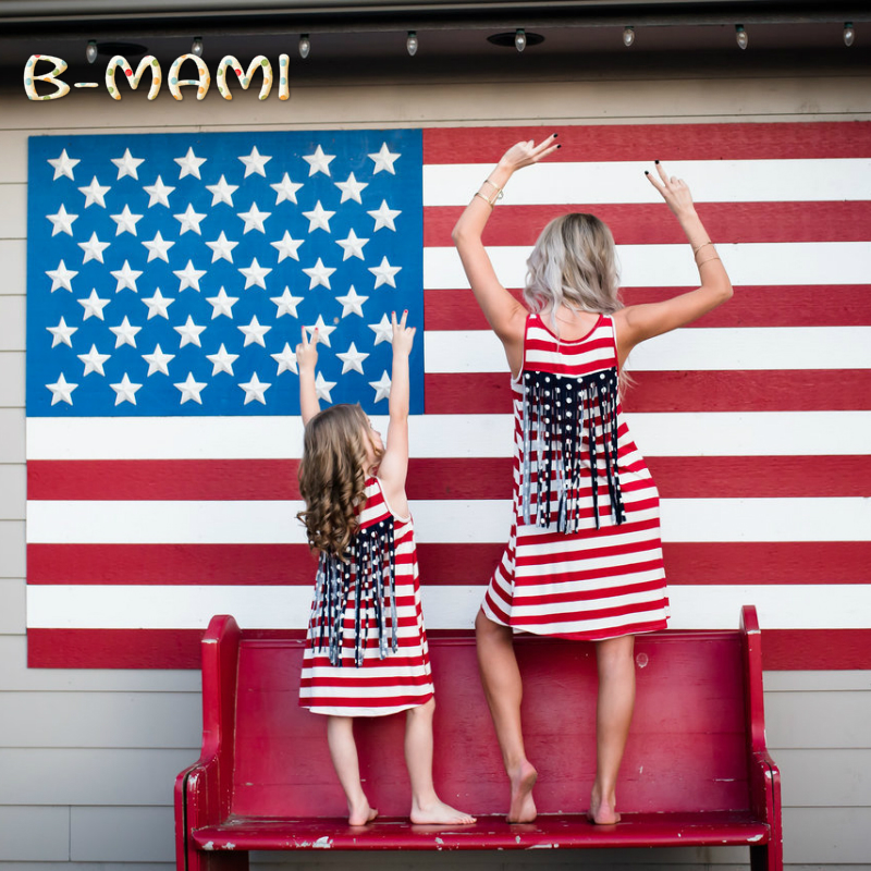 Drop Shipping Family Matching Outfits Mommy and Me 2017 Summer American USA Print Flag Mom and