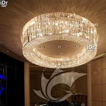 Роскошная Вилла гостиная круглый высокое качество кристалл лампы зал лампа отель проект освещения клуб Потолочные Светильники