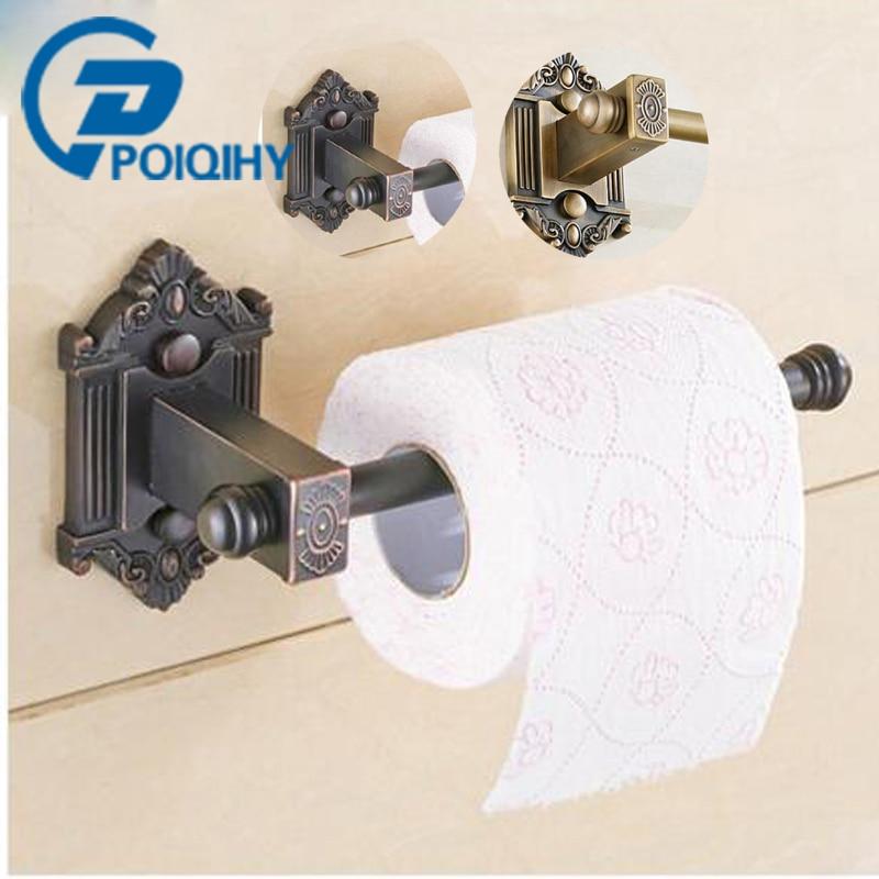 Comprar Poiqihy nueva latón antiguo de montaje en pared baño lavabo rodante sostenedor de papel higiénico baño Accesorios portarrollos de toilet paper holder fiable proveedores en poiqihy Store
