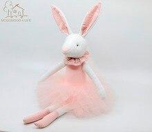 38cm Luxury Easter Gift Customized Soft Toys 100% handmade Rabbit Stuffed Animal with Pink Skirt Plush Toys