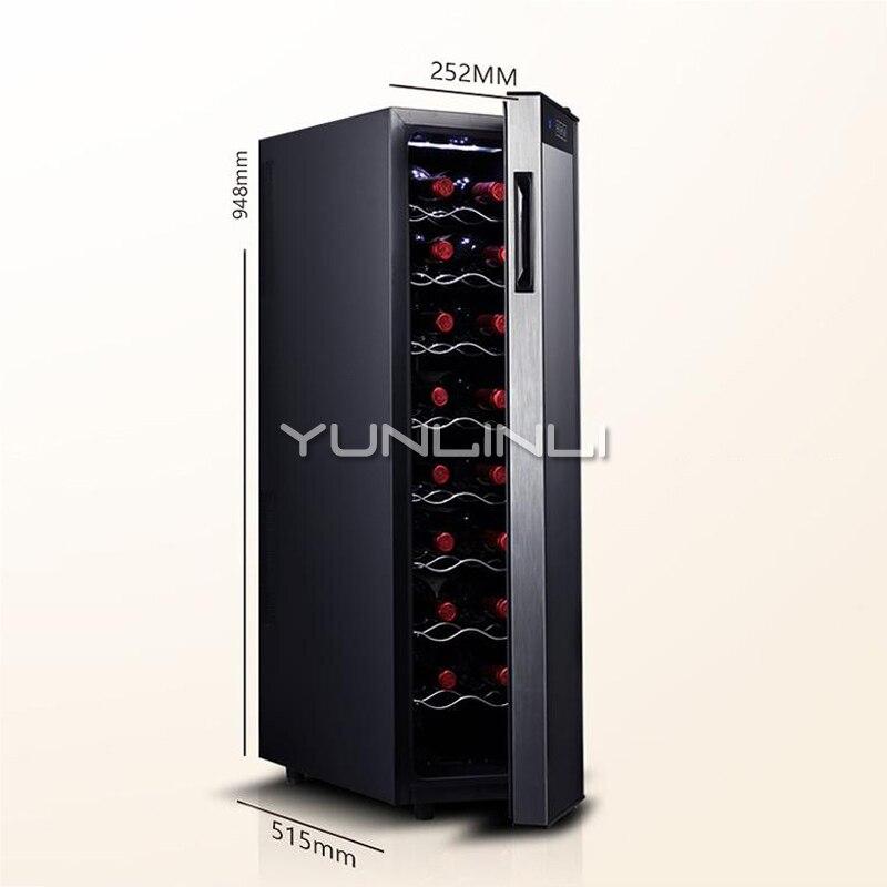 Casa Temperatura Constante Eletrônico Refrigerador de Vinho de Vidro Pequeno Prateleira de Aço Inoxidável Refrigerador de Vinho Armário Do Vinho Refrigerado JC-65BW