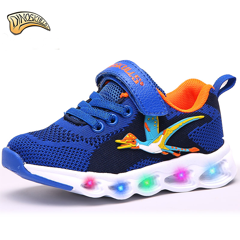 Dinoskulls Kids Shoes Children s Sport Led Light Up Shoes Boys Mesh Shoes Dinosaur 2018 Autumn