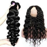 Venvee свободная волна 3 натуральные волосы комплект s с синтетическое закрытие волос 360 синтетический Frontal шнурка 4 шт. бразильский вол