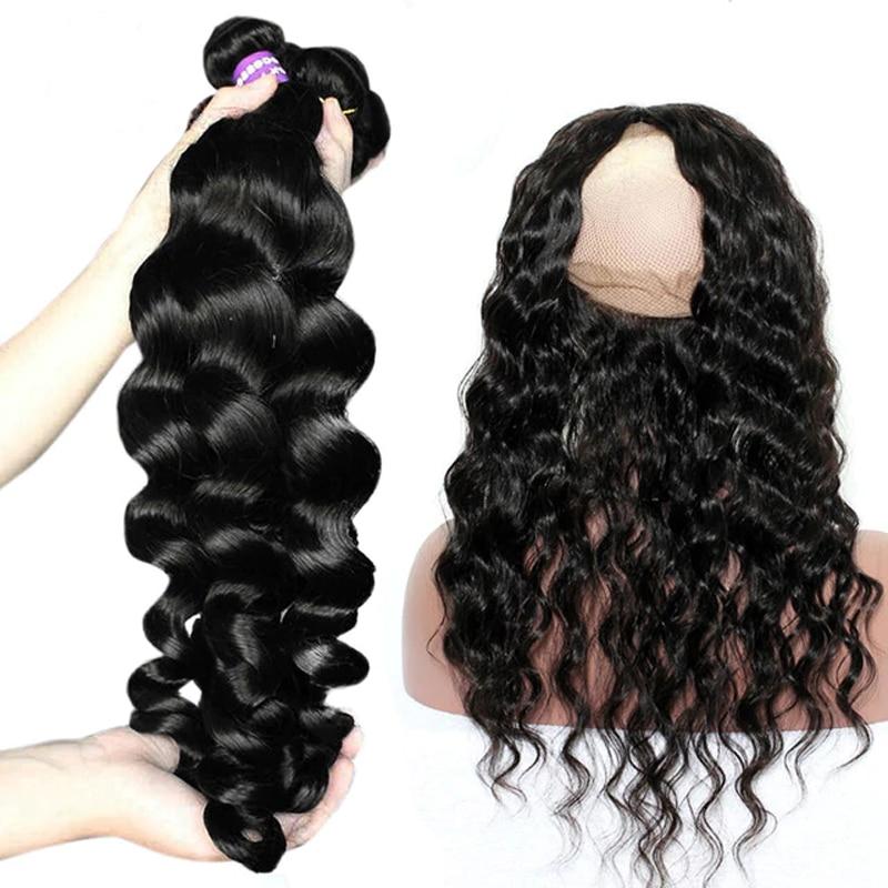 Venvee Loose Wave 3 Human Hair Bundles With Closure 360 Lace Frontal With Bundle 4 Pcs Brazilian Remy Hair