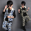 2017 Spring Fashion classic children's casual suit boy camouflage vest pants three-piece  Labeling number 86 bottoming shirt