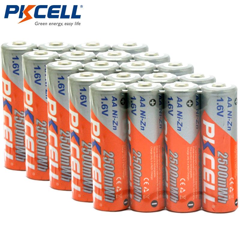 Prix pour 20 PCS/lot 1.6 V AA Batterie 2500mWh Ni-zn Batterie Rechargeable De Haute Qualité Réelle Capacité