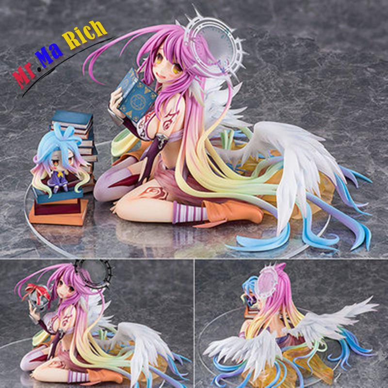 New Arrival Action Figure No Game No Life Angle Small Shiro & Jibril Reading Pvc 13cm 1/7 Scale Figure Model Collection huong anime figure 15 cm no game no life shiro 1 7 scale complete pvc action figure collectible model toys brinquedos