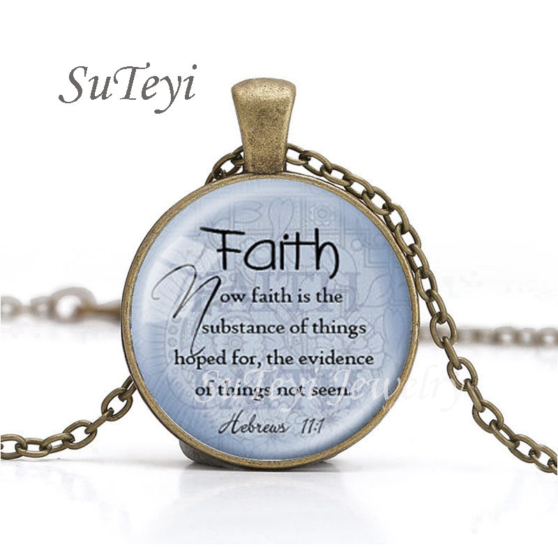 Suteyi new scripture faith pendant necklace christian jewelry suteyi new scripture faith pendant necklace christian jewelry bible verse gift faith hebrews 111 necklace bible quote jewelry in pendant necklaces from negle Gallery