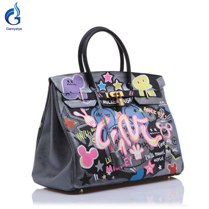 GAMYSTYE brand Women Real Leather Handbag Graffiti rock Women Messenger Bags Hand Painted art bags Custom Design painting totes rock skull graffiti custom bags handbags women luxury bags hand painted painting graffiti totes female blose women leather bags