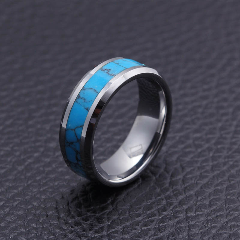 Mens Rings Tungsten Carbide With Blue Pattern Natural Stone Inlay Beveled Edges Wedding Bands Ring For Men Fashion Jewelry