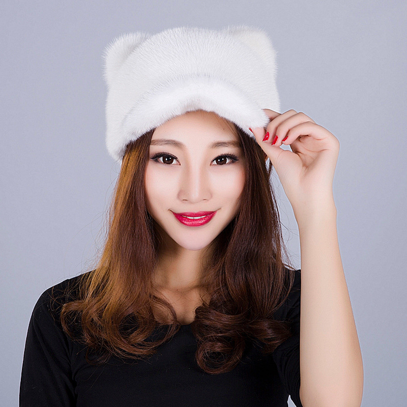 Autumn and winter Genuine mink fur cap integral skin fashion lady warm earmuffs cattie round hat very warming foreign trade explosion models in europe and america in winter knit hat fashion warm mink mink hat lady ear cap dhy 36
