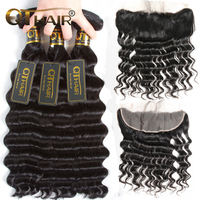 Loose Deep More Wave Human Hair Bundles With Lace Closure 4pc Lot Non Remy Brazilian Hair